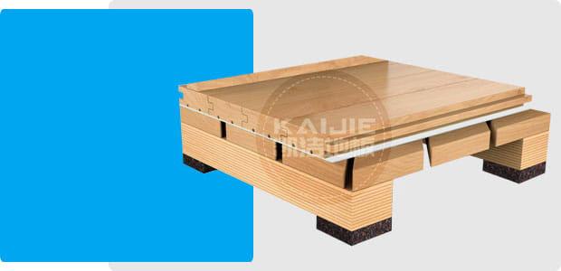 45°斜铺龙骨结构运动木地板