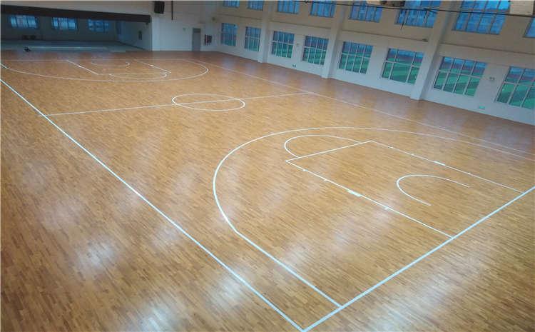 山东菏泽小学室内篮球场木地板案例
